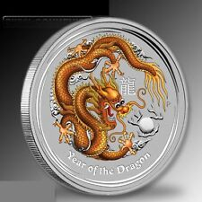 Australia $ 1 Dollar 2012 Gold Coloured Colourised Dragon 1 oz .999 Silver Coin