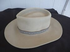vintage  mens cowboy hat the aussie hat co.  fur felt Australia  grey size 56