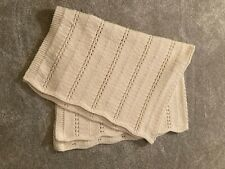"""Handmade Knitted Beige Afghan/ Throw with Scalloped Edges 41"""" W x 56"""" L"""