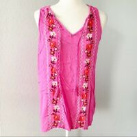 Old Navy Pink Embroidered Sleeveless Blouse Top Women's Size Small