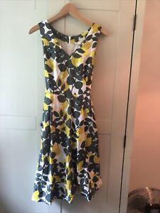 Boden Lemon print Linen And Cotten Dress With Pockets Size 10 Petite