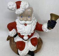"""Vintage Atlantic Mold Ceramic Santa Claus Ringing Bell 10.50"""" Tall"""