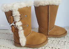 NWT Airwalk Girls Toddler Tall Boots Faux Fur Lined Brown Toggle Myra 5