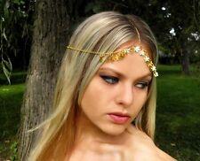 Bridal Hair Goddess Gold Chain Headpiece Forehead Hobo Bohemian Headdress