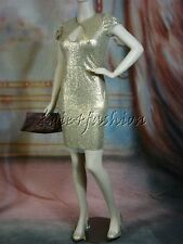 $4840 New NAEEM KHAN Stylish Gold Metal Sequin Ruched Sexy Cutout Bust Dress 8