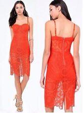 NWT Bebe orange red lace floral bustier cutout midi bra top dress L large 10