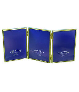 """Triple Gold Photo Picture Frame 2.5x3.5"""", 3.5x5"""", 4x6"""" & 5x7"""" - Brass Plated"""