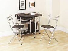 Folding Dining Set Black Dining Table and Four Chairs Stowaway Drop Leaf Dining