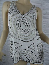 SUSSAN white Aztec tribal silver beaded sleeveless top blouse size 8 and 10 BNWT