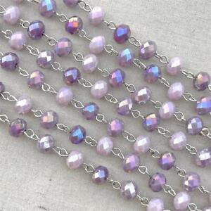 Purple Crystal Rondelle Beaded Rosary Silver Eyepin Chain 8mm Q2 Ft Per Pkg