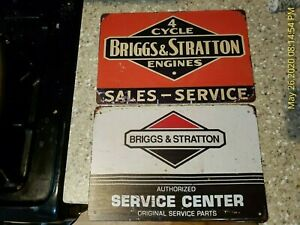 Briggs & Stratton Sign Service Center Sales Metal Tin Sign Shop Garage Metal B&S