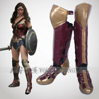 Superhero Wonder Woman Diana Prince Cosplay Shoes Red Boots Halloween Cosplay