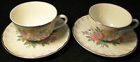 W S George Bolero Romance Tea Cup Saucer Sets Pink Purple Set of 2 Excellent
