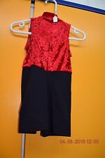 Black and cotton and red velour unitard  -Size 1 - Age 6-7  - U2