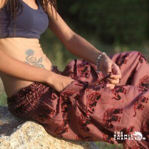 Harem Hippie Pants Brown Elephant Yoga Ladies Festival Comfy Boho Gypsy Loose