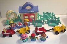 FISHER PRICE LITTLE PEOPLE PLAY LOT_SWEET GARDEN HOUSE_ SWING_TRIKE + RED WAGON