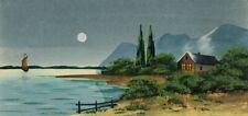 Haus am See bei Vollmond, Süddeutsch oder Alpengegend um 1900, Gouache