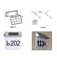 4 LED House Address Number Stainless Steel Doorplate Light Lamp Solar Powered
