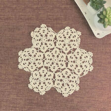 Ecru Vintage Hand Crochet Lace Doily Round Table Placemat 11inch Floral Pattern