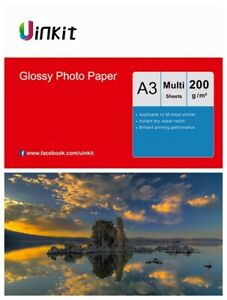 A3 Paper Inkjet Paper High Glossy Middle Thick Inkjet Printer 200Gsm Uinkit Lot