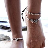Women Anklet Silver Bead Chain Ankle Bracelet Barefoot Sandal Foot Beach Jewelry