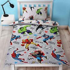 Marvel Comics - Grey - Single Rotary Duvet Cover & Pillowcase Set