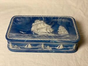 Incolay Stone Handcrafted Nautical Box - Rare