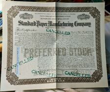 Standard Paper Manufacturing Company Stock Certificate # 679 cancelled Vintage