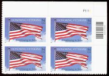 Scott 3708, Honoring Veterans Issue of 2001 - Mint, Never Hinged Plate Block
