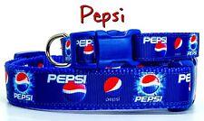 "Pepsi dog collar handmade adjustable buckle collar 1""or 5/8"" wide or leash"