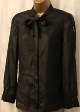 Karen Millen Tie Pussybow Neck Black Drape Long Sleeve Blouse Shirt Top UK 6 34