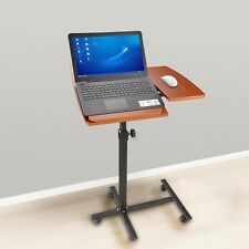 Rolling Laptop Cart Table Sturdy Stand Mobile Computer Desk Bed Home Office