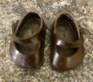 Vintage Vogue 1950s Ginny Doll Brown Vinyl Side-Knob Shoes  Marked