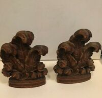 Vintage Syroco Wood Composite Bookends Shabby Flowers Fancy Leaves Set