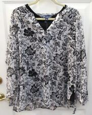 Susan Graver Style Floral Sheer Top Glitter Size XL Black Shell 2 pc New
