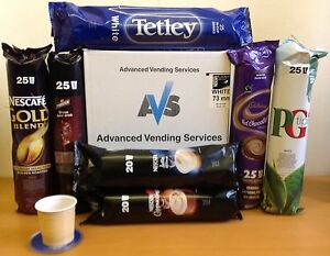mixed case of 73mm incup vending drinks for in cup machine Coffee Tea Choc soup