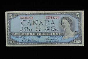1954 $5 Dollar Bank of Canada Banknote D/X 5518226 Beattie Rasminsky VF Grade