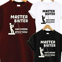 Master Baiter Funny Fishing T Shirt Tee Joke Fisherman Men's Comedy Tackle Humor