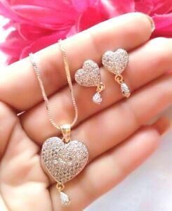 Love Charm Heart Pendant Earrings Attractive Christmas New year Gift Jewel Set