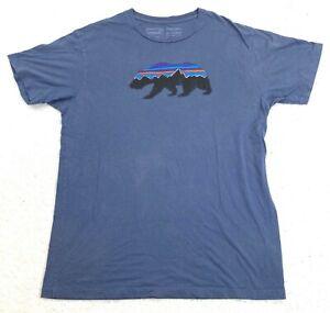 Mens Patagonia Slim Fit Bear Logo Organic Cotton T Shirt Navy Blue Size Large