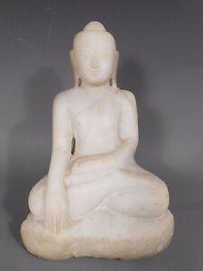 Burma Burmese Mandalay Marble Buddha statue in Bhumisparsha Mudra 19th Century