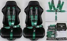 "2 X TANAKA UNIVERSAL GREEN 5 POINT CAMLOCK RACING SEAT BELT HARNESS 3"" SFI 16.1"