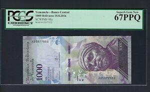 Venezuela 1000 Bolivares 18-8-2016 P95a Uncirculated Graded 67
