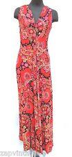 Vtg 1970's Textile Pattern Pychedelic Hippie Sundress V Neck Long Summer Dress