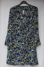 fd5bc536db3f50 Ladies Marks and Spencer Black Blue and Yellow Floral Wrap Over Dress Size  18