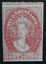 1867 Tasmania Australia 1d Carmine Imperf Chalon Head stamp Mint Regummed