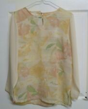 Vtg 90's Blogger Casual Chic Semi Sheer Pretty Floral Print Top/Blouse 10-12/38""