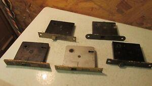 5 Antique Cast Iron & Steel Mortise Locks Parts