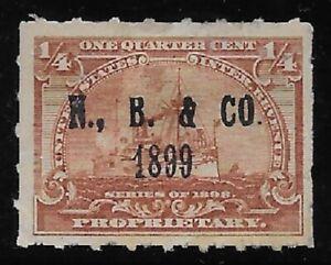 NELSON, BAKER & CO. PRINTED CANCEL 1/4c RB21 1898 Battleship Revenue Stamp
