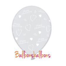 "Diamond Clear Happy Anniversary 11"" Anagram Latex Wedding Balloons x 5"